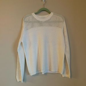Christopher & Banks open knit top cream sweater.